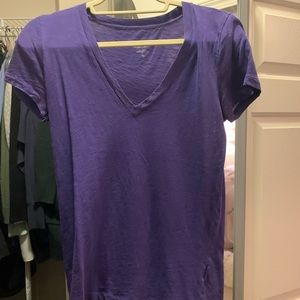 j crew purple vintage v neck tee